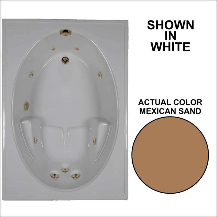 Watertech Whirlpool Baths Mexican Sand Acrylic Oval In Rectangle Whirlpool Tub (Common: 42-in x 60-in; Actual: 19-in x 41.5-in x 59.75-in)