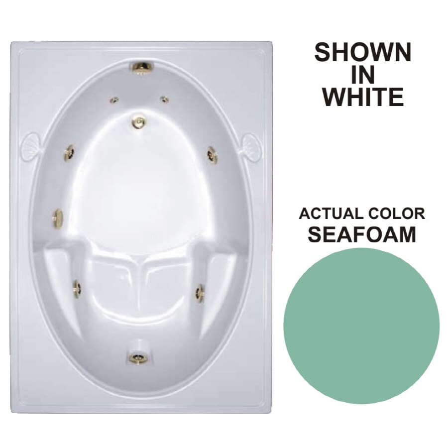 Watertech Whirlpool Baths Warertech 59.75-in Seafoam Acrylic Drop-In Whirlpool Tub with Reversible Drain