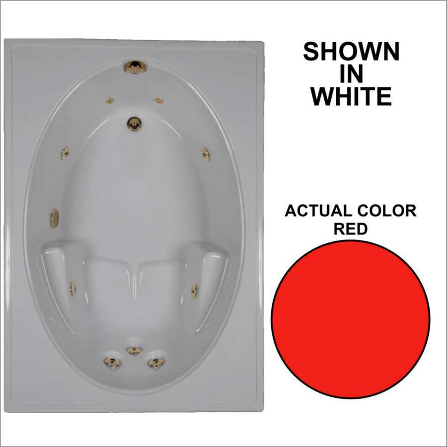 Watertech Whirlpool Baths Red Acrylic Oval In Rectangle Whirlpool Tub (Common: 42-in x 60-in; Actual: 19-in x 41.5-in x 59.75-in)