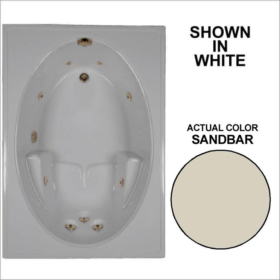 Watertech Whirlpool Baths Sandbar Acrylic Oval In Rectangle Whirlpool Tub (Common: 42-in x 60-in; Actual: 19-in x 41.5-in x 59.75-in)