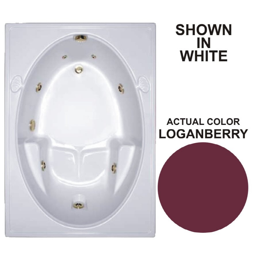 Watertech Whirlpool Baths Warertech Loganberry Acrylic Oval In Rectangle Whirlpool Tub (Common: 42-in x 60-in; Actual: 19-in x 41.5-in x 59.75-in)