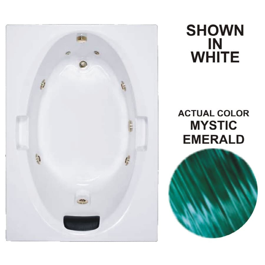 Watertech Whirlpool Baths Warertech 59.75-in Mystic Emerald Acrylic Drop-In Whirlpool Tub with Reversible Drain