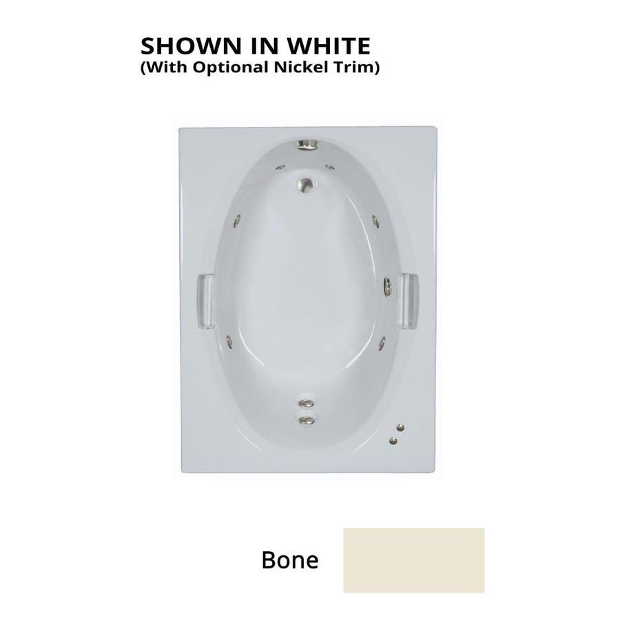 Watertech Whirlpool Baths Bone Acrylic Oval In Rectangle Whirlpool Tub (Common: 42-in x 60-in; Actual: 21.5-in x 41.875-in x 59.75-in)