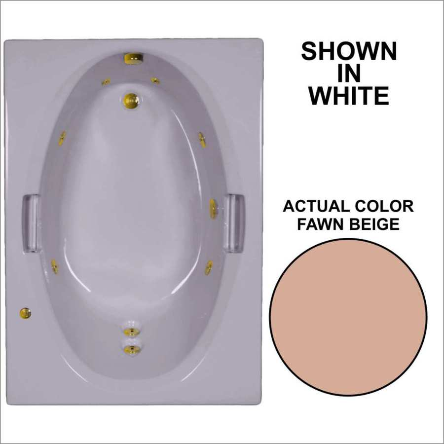 Watertech Whirlpool Baths Fawn Beige Acrylic Oval In Rectangle Whirlpool Tub (Common: 42-in x 60-in; Actual: 21.5-in x 41.875-in x 59.75-in)