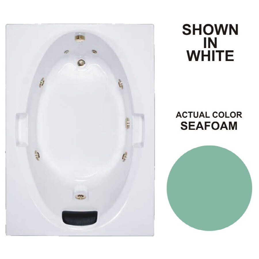 Watertech Whirlpool Baths Warertech 59.75-in Seafoam Acrylic Drop-In Whirlpool Tub with Reversible Drain