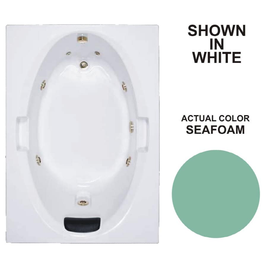 Watertech Whirlpool Baths Warertech Seafoam Acrylic Oval In Rectangle Whirlpool Tub (Common: 42-in x 60-in; Actual: 21.5-in x 41.875-in x 59.75-in)