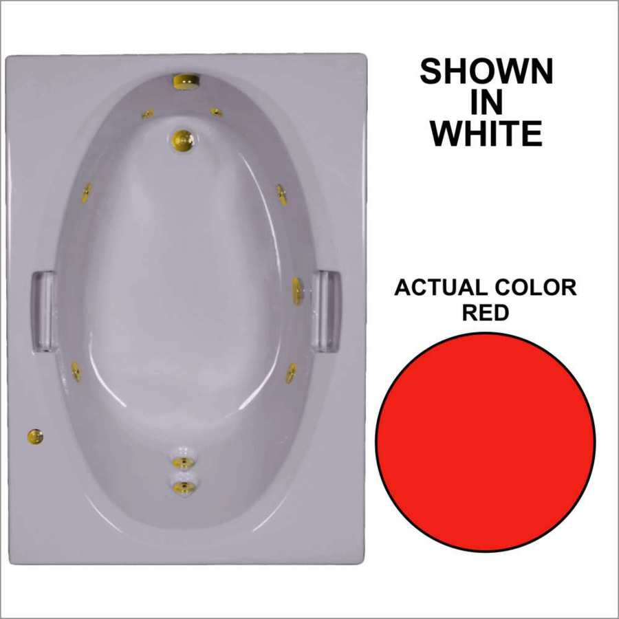Watertech Whirlpool Baths Red Acrylic Oval In Rectangle Whirlpool Tub (Common: 42-in x 60-in; Actual: 21.5-in x 41.875-in x 59.75-in)