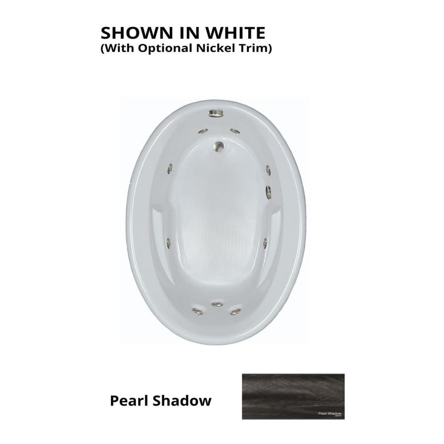 Watertech Whirlpool Baths Pearl Shadow Acrylic Oval Whirlpool Tub (Common: 42-in x 60-in; Actual: 19.5-in x 41.5-in x 59.625-in)