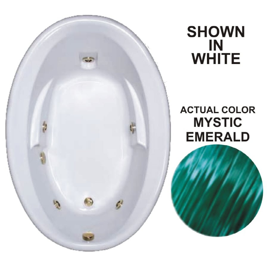 Watertech Whirlpool Baths Warertech 59.625-in Mystic Emerald Acrylic Drop-In Whirlpool Tub with Reversible Drain