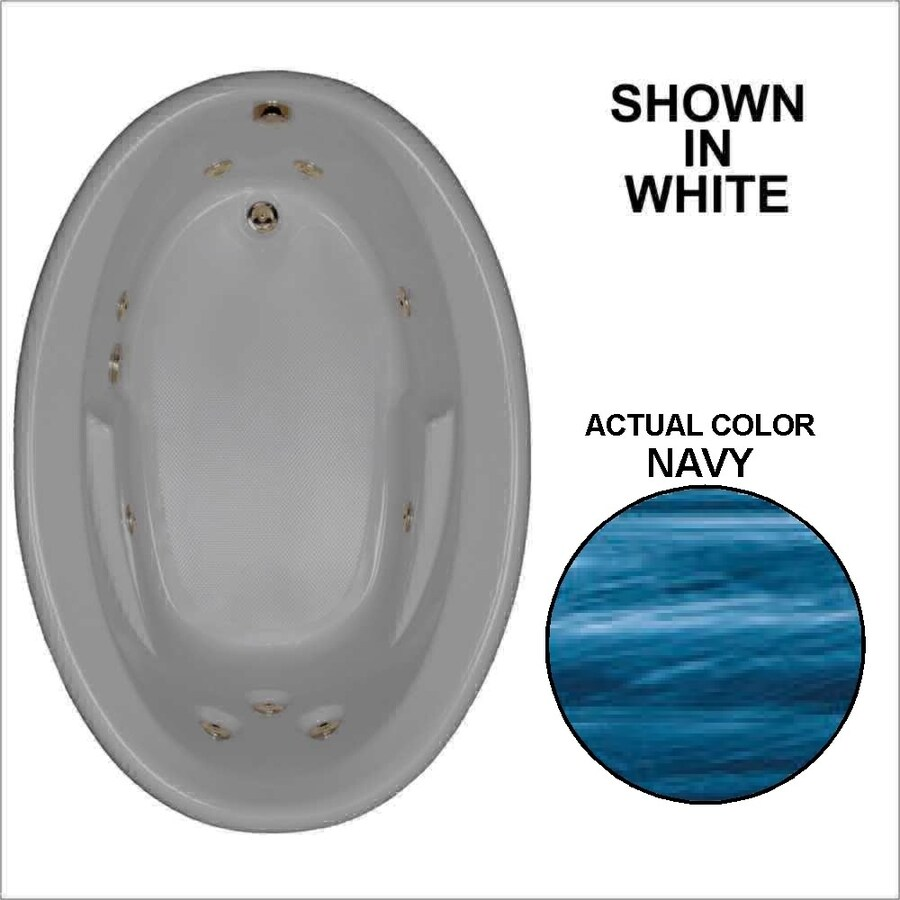 Watertech Whirlpool Baths 59.625-in Navy Acrylic Drop-In Whirlpool Tub with Reversible Drain