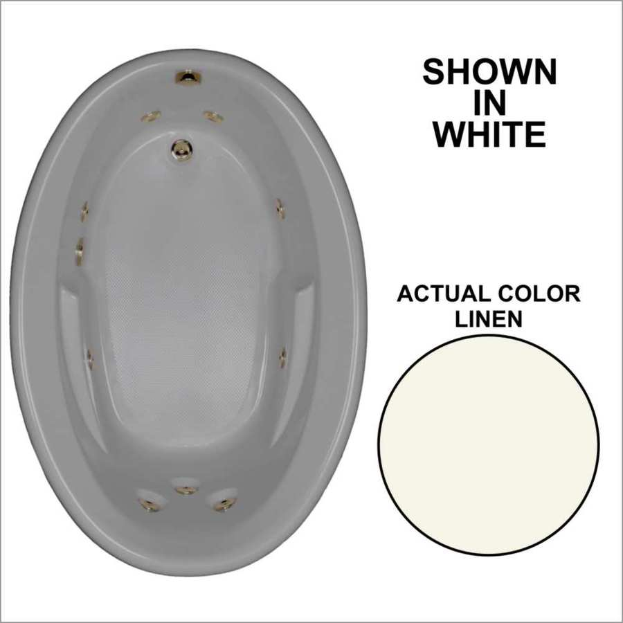 Watertech Whirlpool Baths 59.625-in Linen Acrylic Drop-In Whirlpool Tub with Reversible Drain