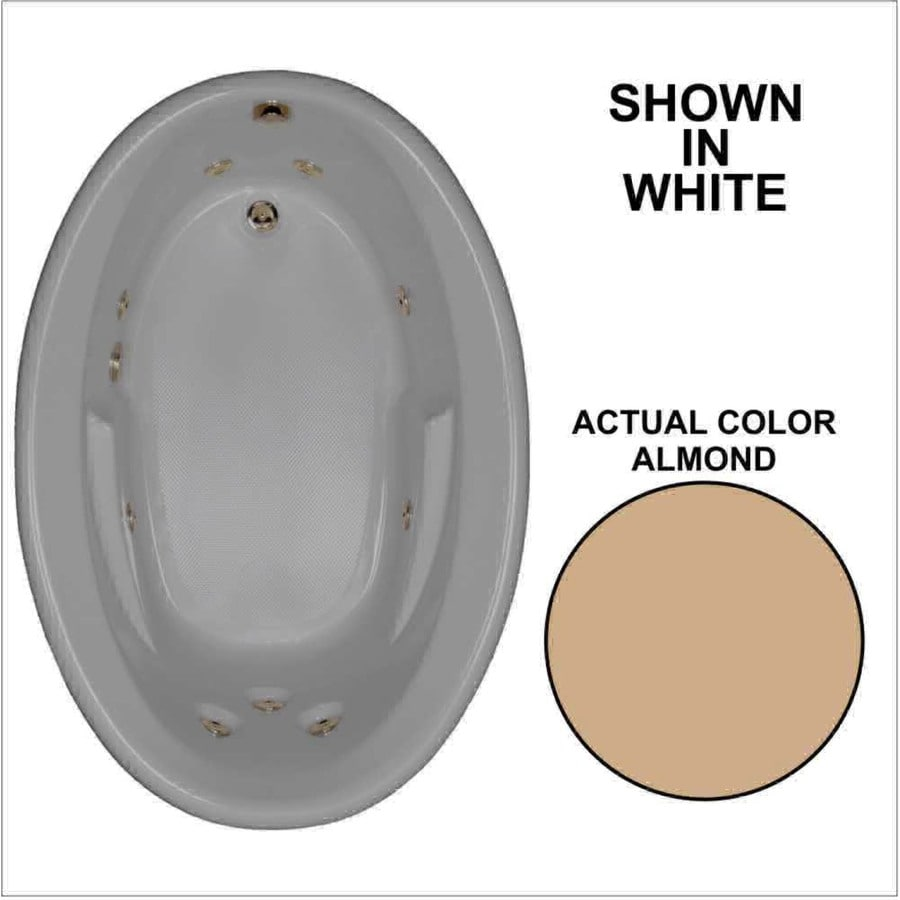 Watertech Whirlpool Baths 59.625-in Almond Acrylic Drop-In Whirlpool Tub with Reversible Drain