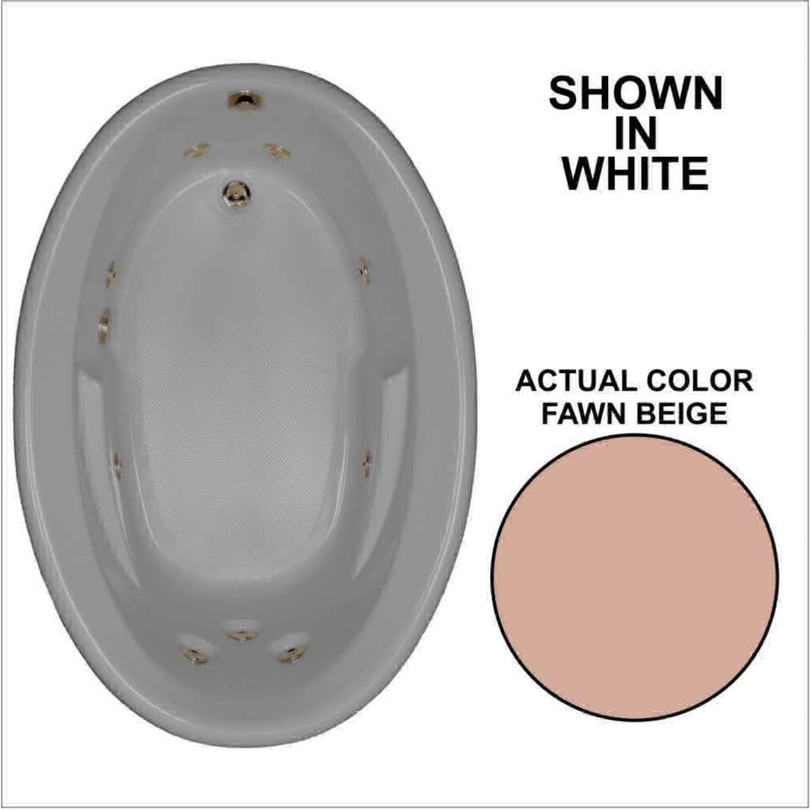 Watertech Whirlpool Baths 59.625-in Fawn Beige Acrylic Drop-In Whirlpool Tub with Reversible Drain