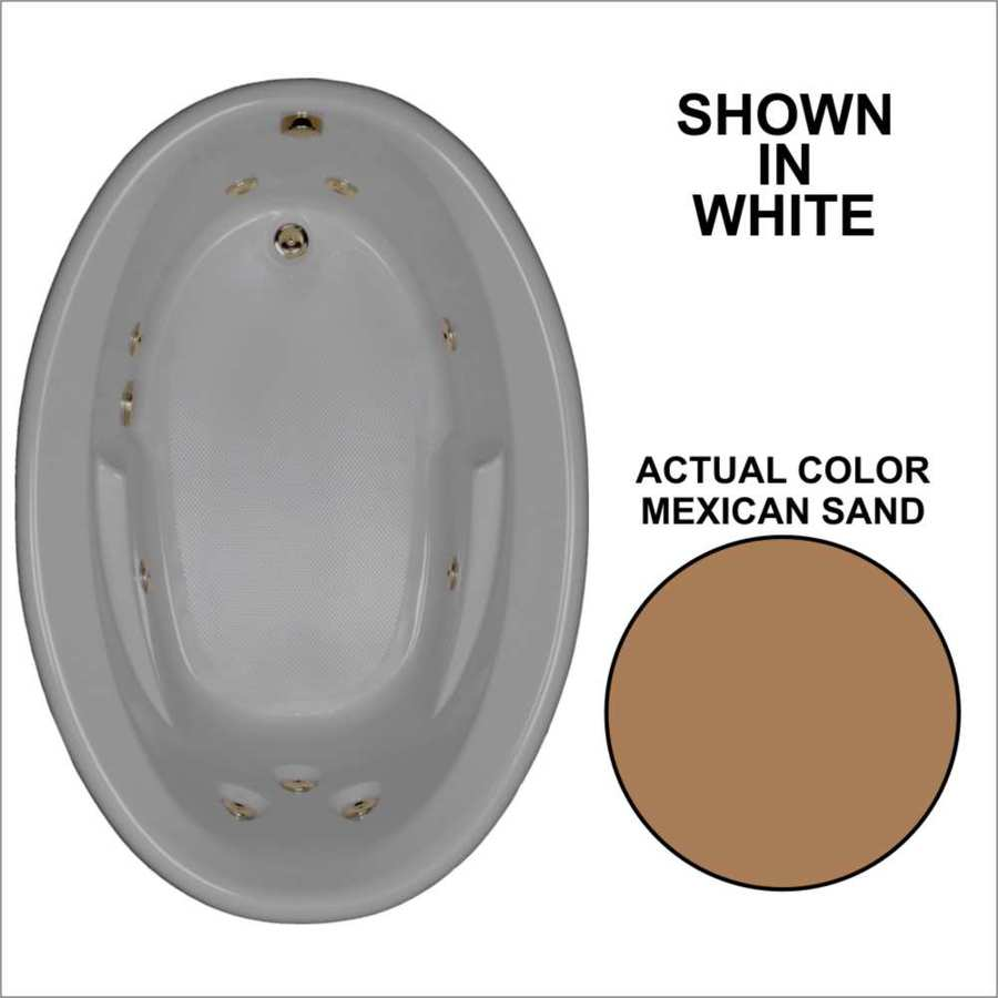 Watertech Whirlpool Baths 59.625-in Mexican Sand Acrylic Drop-In Whirlpool Tub with Reversible Drain