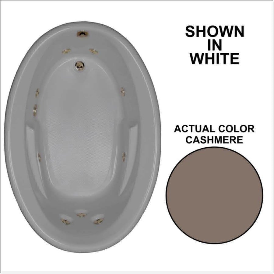 Watertech Whirlpool Baths 59.625-in Cashmere Acrylic Drop-In Whirlpool Tub with Reversible Drain