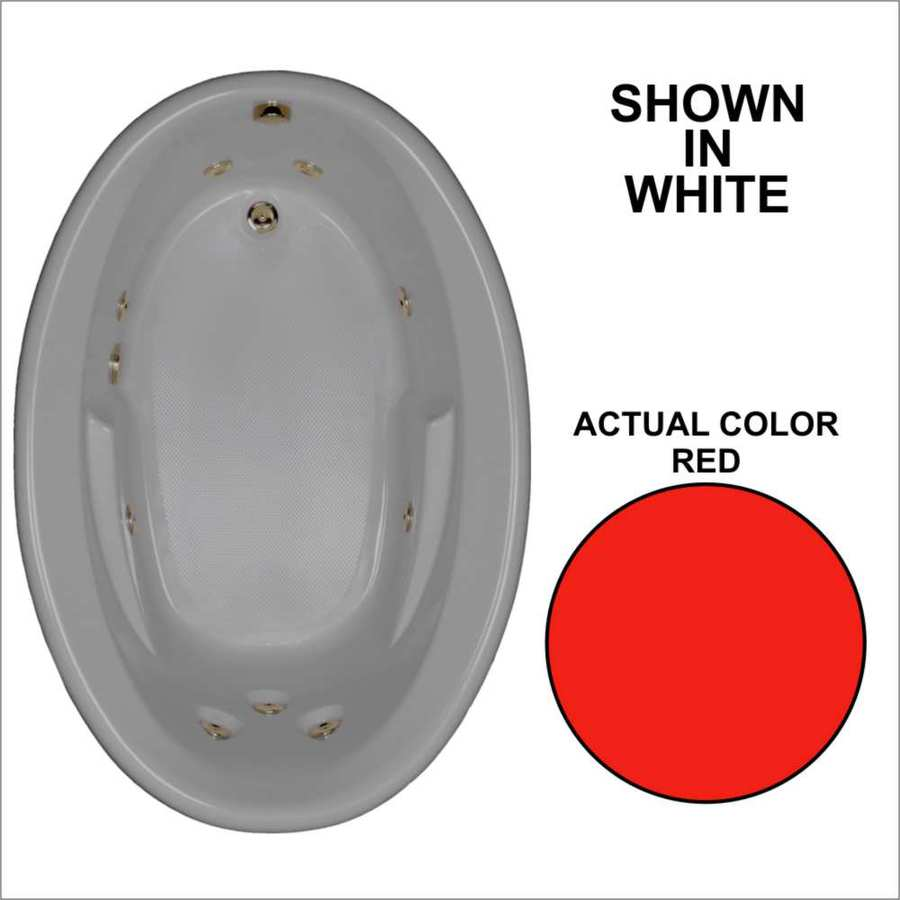 Watertech Whirlpool Baths 59.625-in Red Acrylic Drop-In Whirlpool Tub with Reversible Drain