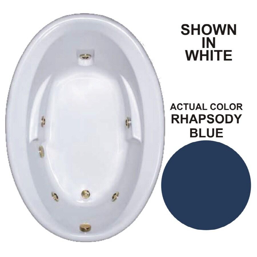 Watertech Whirlpool Baths Warertech 59.625-in Rhapsody Blue Acrylic Drop-In Whirlpool Tub with Reversible Drain