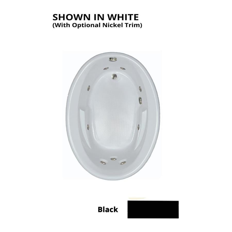 Watertech Whirlpool Baths 59.625-in Black Acrylic Drop-In Whirlpool Tub with Reversible Drain