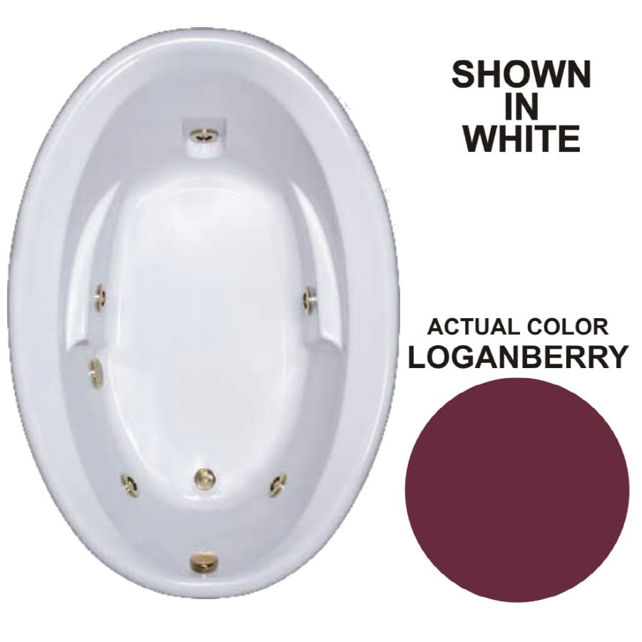 Watertech Whirlpool Baths Warertech Loganberry Acrylic Oval Whirlpool Tub (Common: 42-in x 60-in; Actual: 19.5-in x 41.5-in x 59.625-in)
