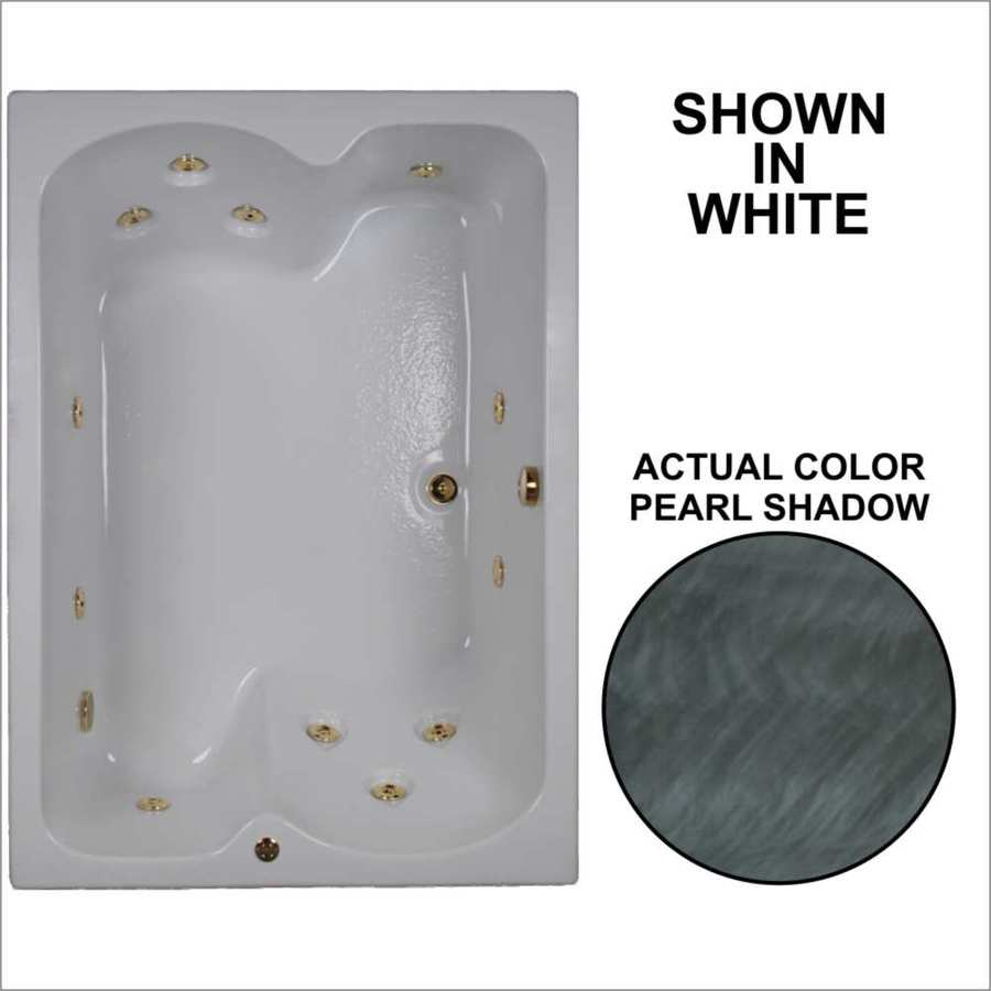 Watertech Whirlpool Baths 59.75-in Pearl Shadow Acrylic Drop-In Whirlpool Tub with Reversible Drain