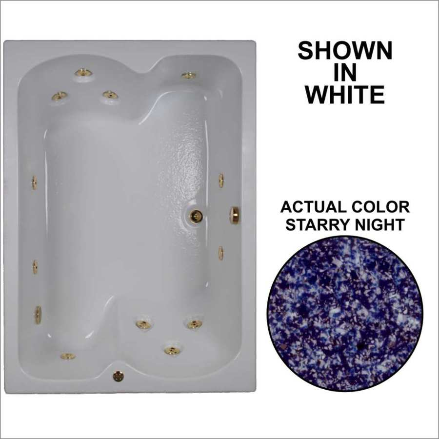 Watertech Whirlpool Baths 59.75-in Starry Night Acrylic Drop-In Whirlpool Tub with Reversible Drain