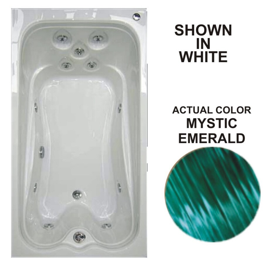 Watertech Whirlpool Baths Warertech Mystic Emerald Acrylic Rectangular Whirlpool Tub (Common: 36-in x 72-in; Actual: 21.5-in x 36-in x 72-in)