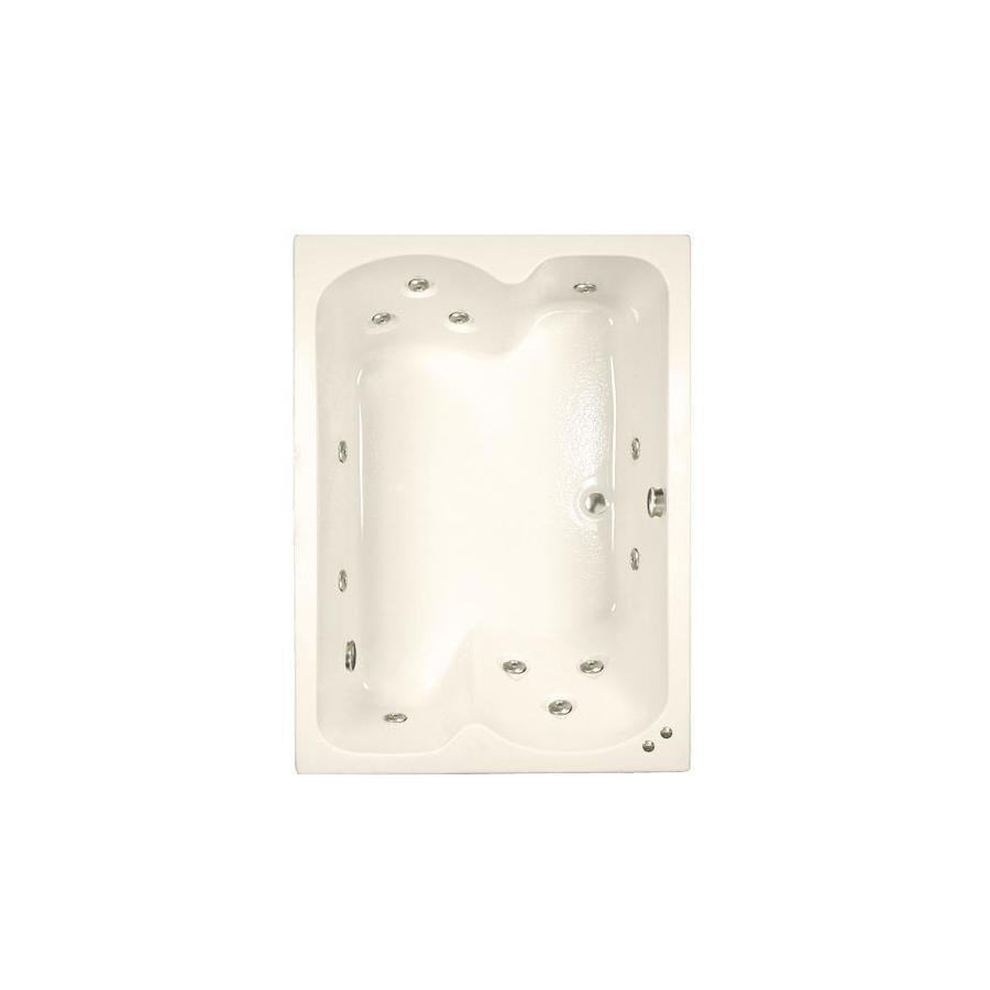 Watertech Whirlpool Baths 59.75-in Bone Acrylic Drop-In Whirlpool Tub with Reversible Drain