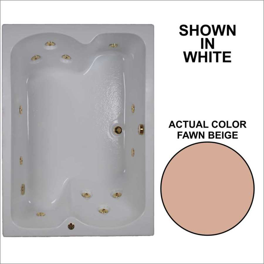 Watertech Whirlpool Baths 59.75-in Fawn Beige Acrylic Drop-In Whirlpool Tub with Reversible Drain
