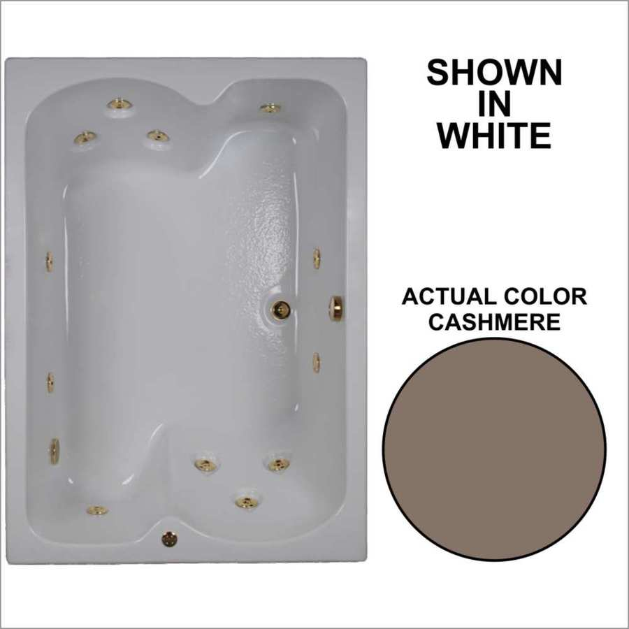Watertech Whirlpool Baths 59.75-in Cashmere Acrylic Drop-In Whirlpool Tub with Reversible Drain