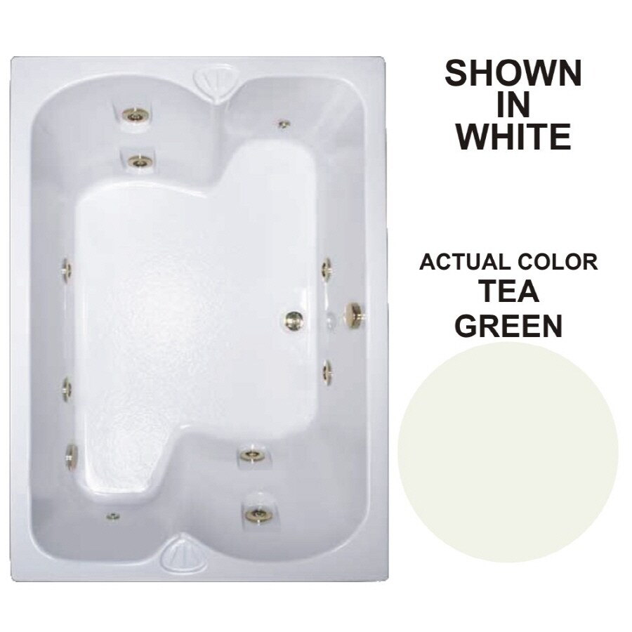 Watertech Whirlpool Baths Warertech 59.75-in Tea Green Acrylic Drop-In Whirlpool Tub with Reversible Drain