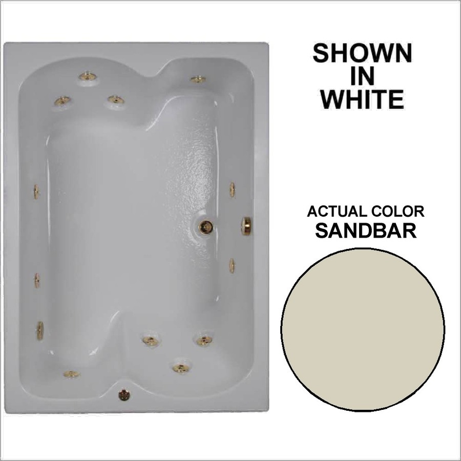Watertech Whirlpool Baths 59.75-in Sandbar Acrylic Drop-In Whirlpool Tub with Reversible Drain