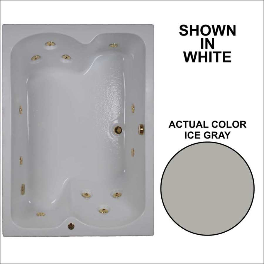Watertech Whirlpool Baths 59.75-in Ice Gray Acrylic Drop-In Whirlpool Tub with Reversible Drain