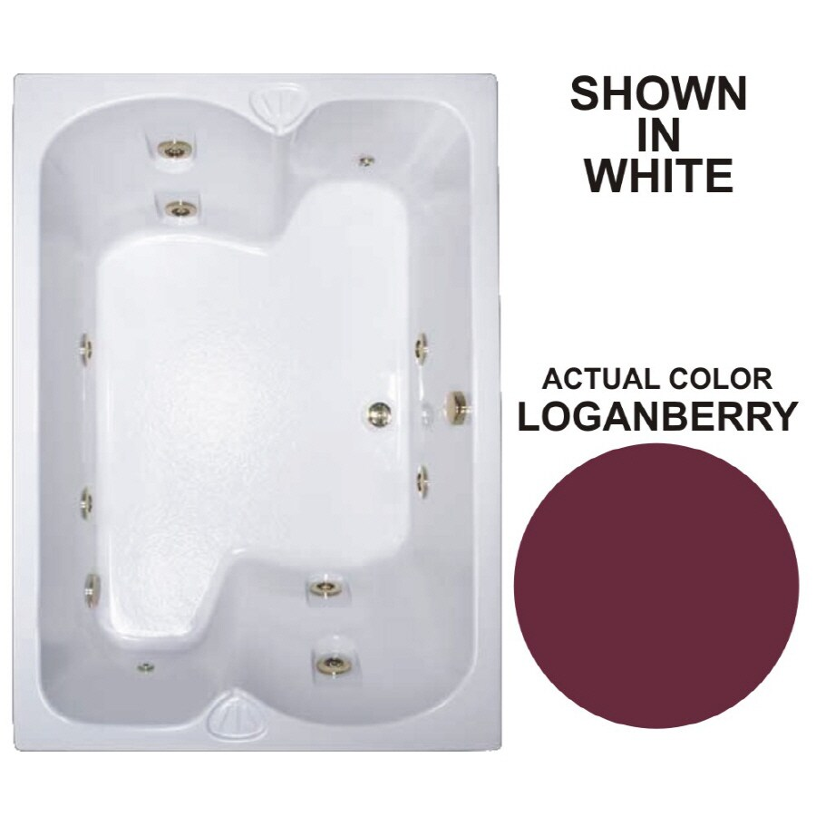 Watertech Whirlpool Baths Warertech 2-Person Loganberry Acrylic Rectangular Whirlpool Tub (Common: 43-in x 60-in; Actual: 23.25-in x 42.75-in x 59.75-in)