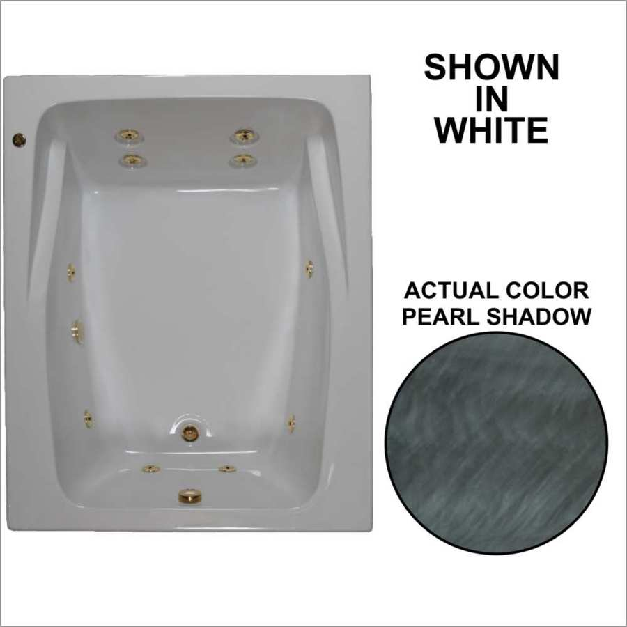 Watertech Whirlpool Baths 2-Person Pearl Shadow Acrylic Rectangular Whirlpool Tub (Common: 48-in x 60-in; Actual: 23-in x 47.75-in x 59.75-in)
