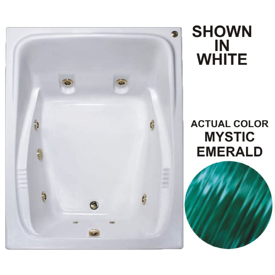 Watertech Whirlpool Baths Warertech 2-Person Mystic Emerald Acrylic Rectangular Whirlpool Tub (Common: 48-in x 60-in; Actual: 23-in x 47.75-in x 59.75-in)