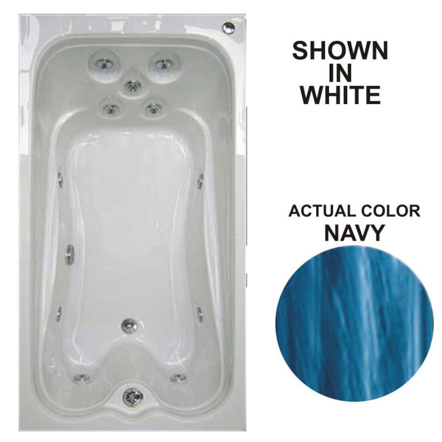 Watertech Whirlpool Baths Warertech Navy Acrylic Rectangular Whirlpool Tub (Common: 36-in x 72-in; Actual: 21.5-in x 36-in x 72-in)