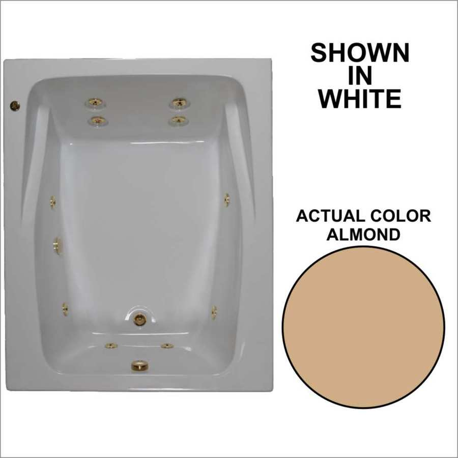 Watertech Whirlpool Baths 2-Person Almond Acrylic Rectangular Whirlpool Tub (Common: 48-in x 60-in; Actual: 23-in x 47.75-in x 59.75-in)