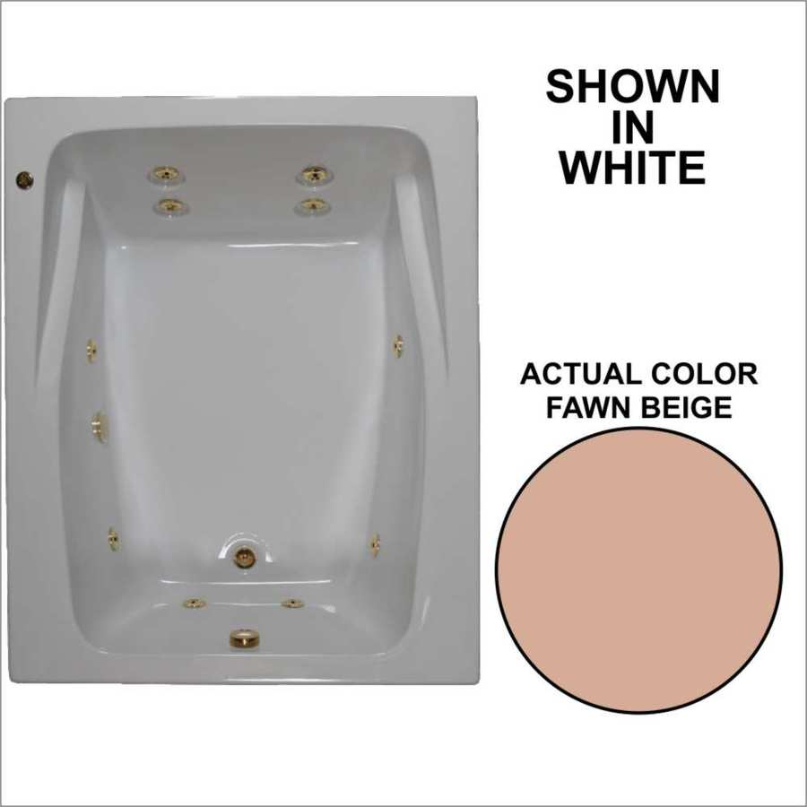 Watertech Whirlpool Baths 2-Person Fawn Beige Acrylic Rectangular Whirlpool Tub (Common: 48-in x 60-in; Actual: 23-in x 47.75-in x 59.75-in)