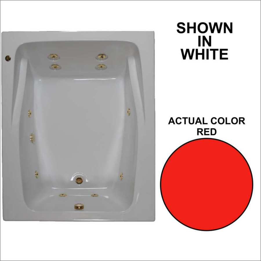 Watertech Whirlpool Baths 59.75-in Red Acrylic Drop-In Whirlpool Tub with Reversible Drain