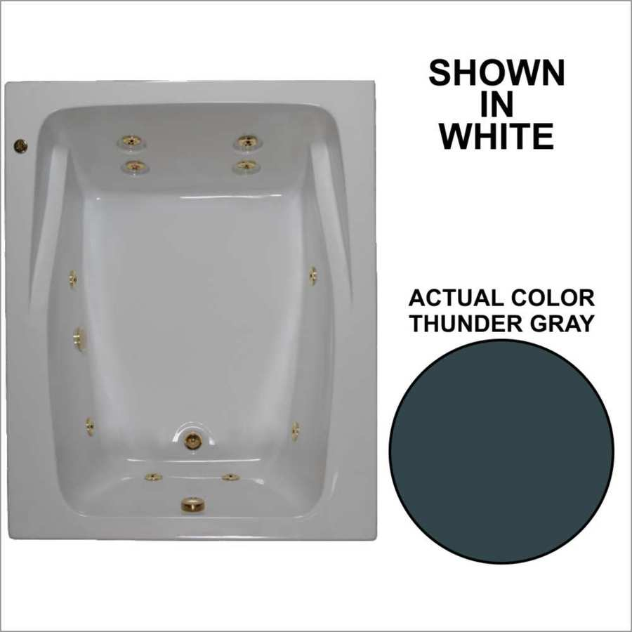 Watertech Whirlpool Baths 59.75-in Thunder Gray Acrylic Drop-In Whirlpool Tub with Reversible Drain