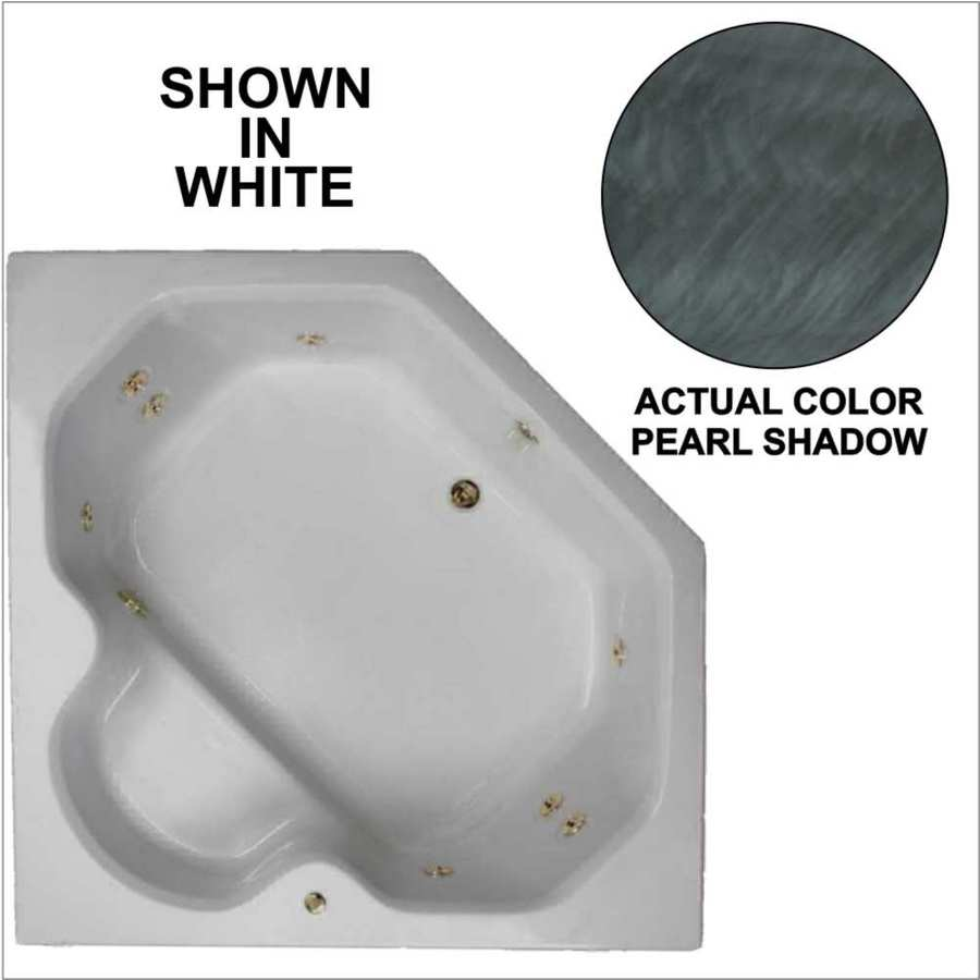 Watertech Whirlpool Baths 2-Person Pearl Shadow Acrylic Corner Whirlpool Tub (Common: 60-in x 60-in; Actual: 20-in x 60-in x 60-in)