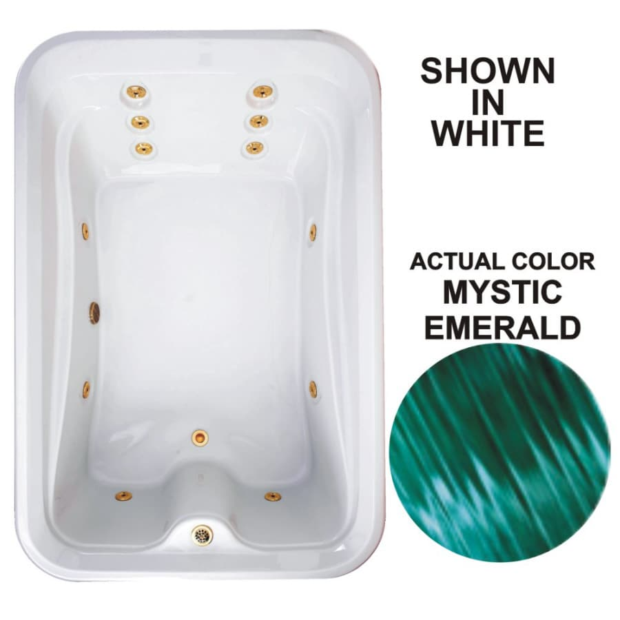 Watertech Whirlpool Baths Elite 72-in Mystic Emerald Acrylic Drop-In Whirlpool Tub with Reversible Drain