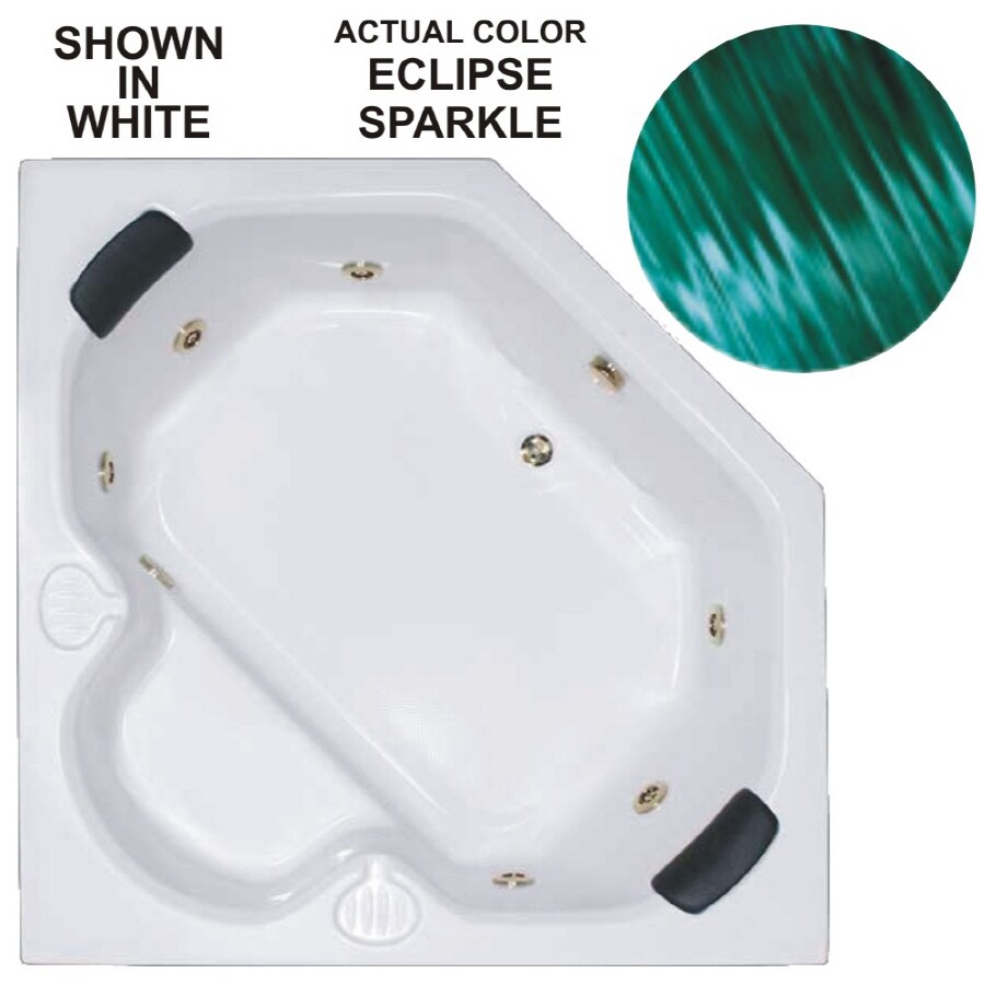 Watertech Whirlpool Baths Warertech 60-in Mystic Emerald Acrylic Drop-In Whirlpool Tub with Reversible Drain