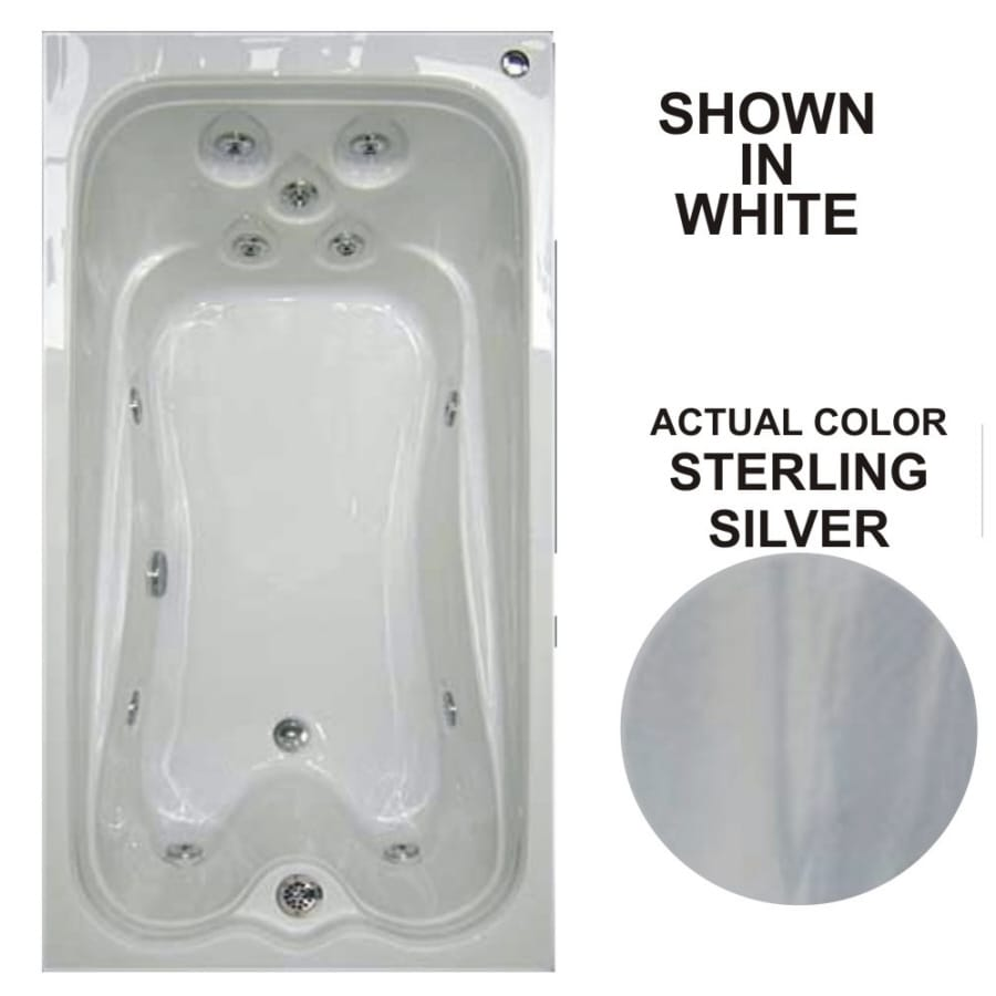 Watertech Whirlpool Baths Warertech 72-in Sterling Silver Acrylic Drop-In Whirlpool Tub with Reversible Drain
