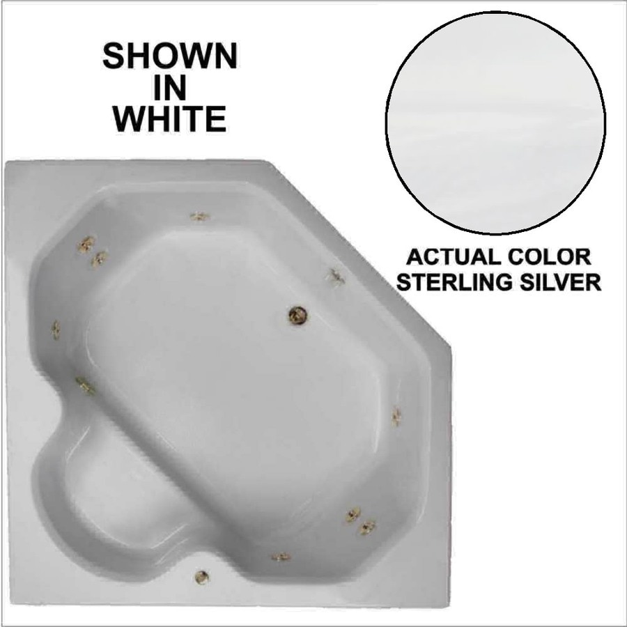 Watertech Whirlpool Baths 60-in Sterling Silver Acrylic Drop-In Whirlpool Tub with Reversible Drain