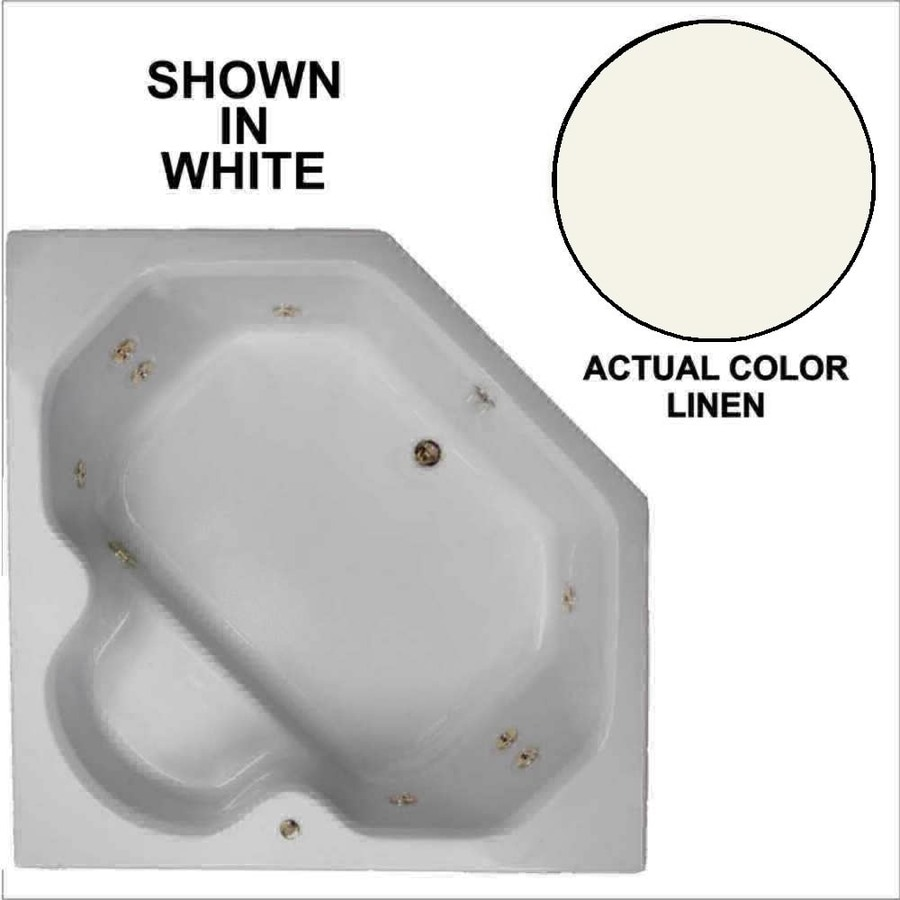 Watertech Whirlpool Baths 60-in Linen Acrylic Drop-In Whirlpool Tub with Reversible Drain