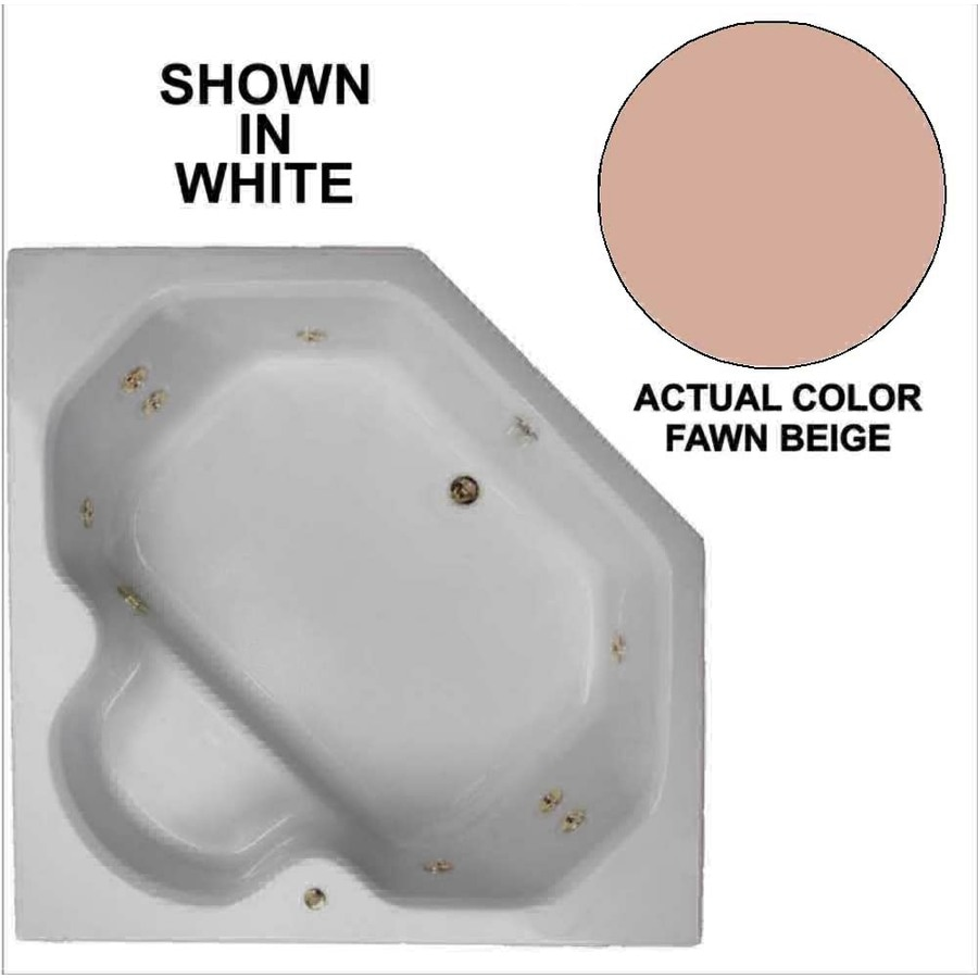 Watertech Whirlpool Baths 60-in Fawn Beige Acrylic Drop-In Whirlpool Tub with Reversible Drain