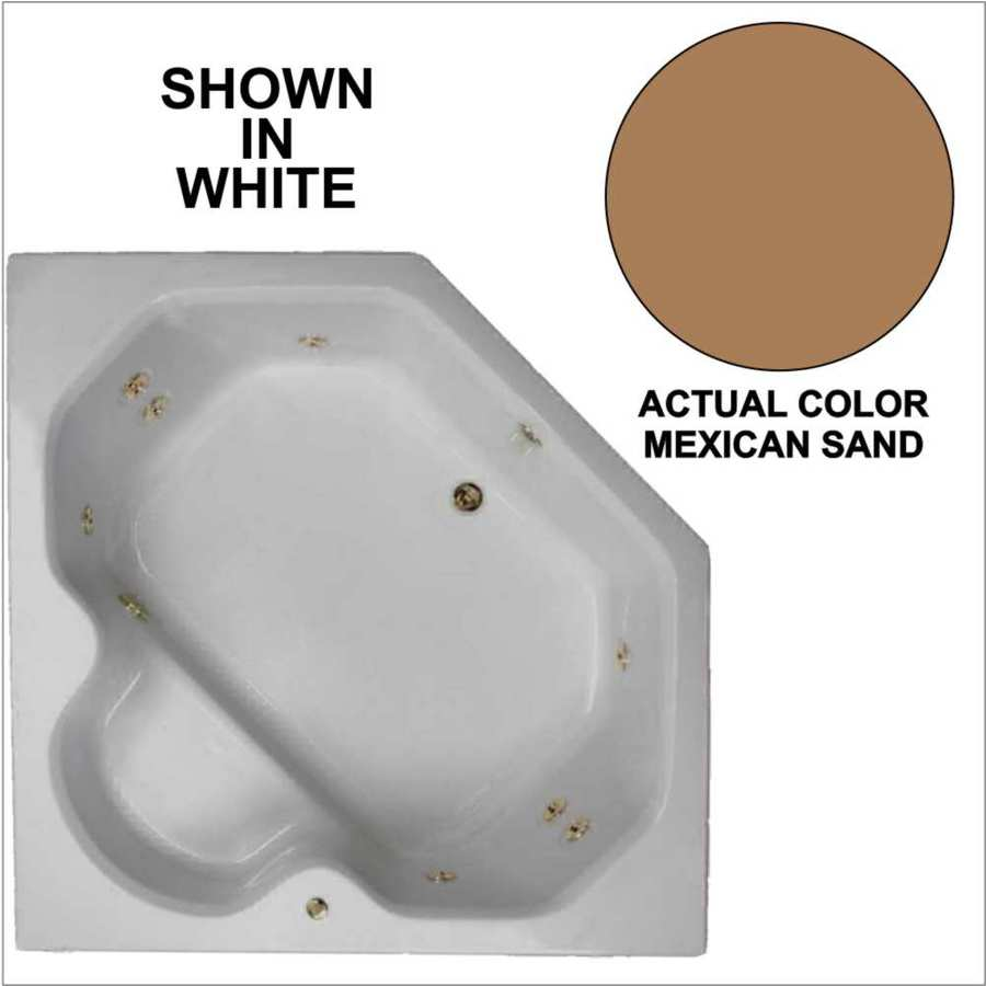 Watertech Whirlpool Baths 60-in Mexican Sand Acrylic Drop-In Whirlpool Tub with Reversible Drain