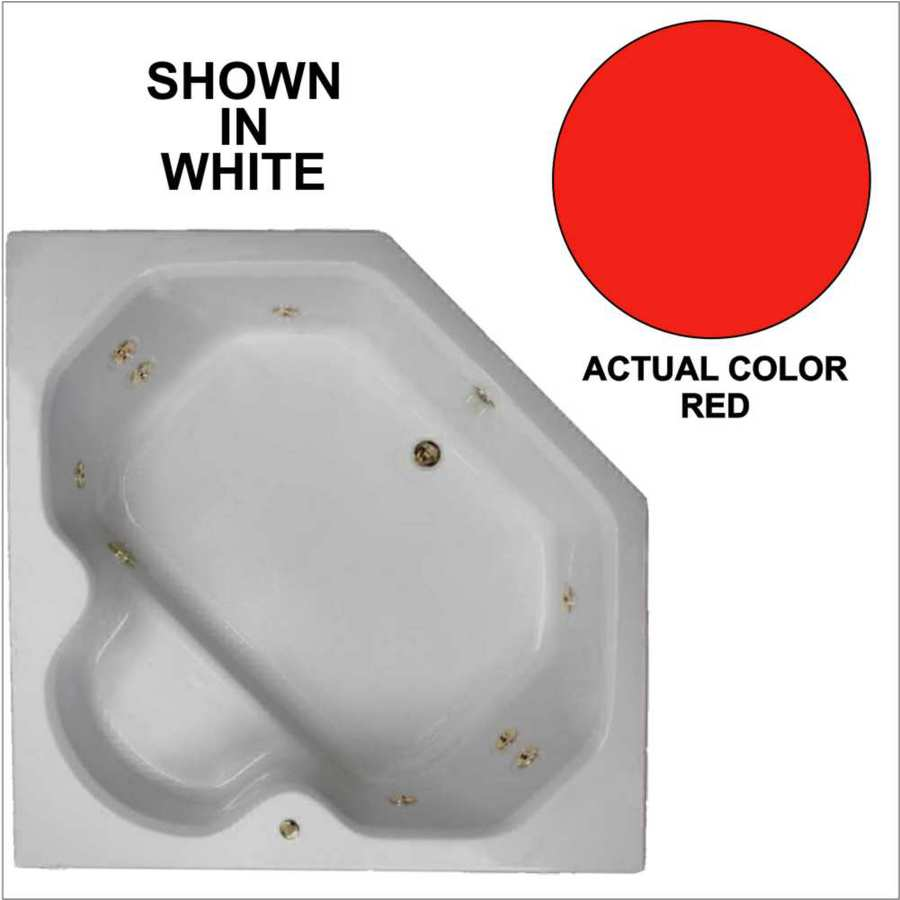 Watertech Whirlpool Baths 2-Person Red Acrylic Corner Whirlpool Tub (Common: 60-in x 60-in; Actual: 20-in x 60-in x 60-in)