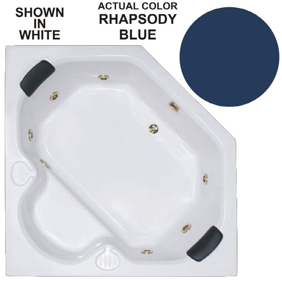 Watertech Whirlpool Baths Warertech 2-Person Rhapsody Blue Acrylic Corner Whirlpool Tub (Common: 60-in x 60-in; Actual: 20-in x 60-in x 60-in)